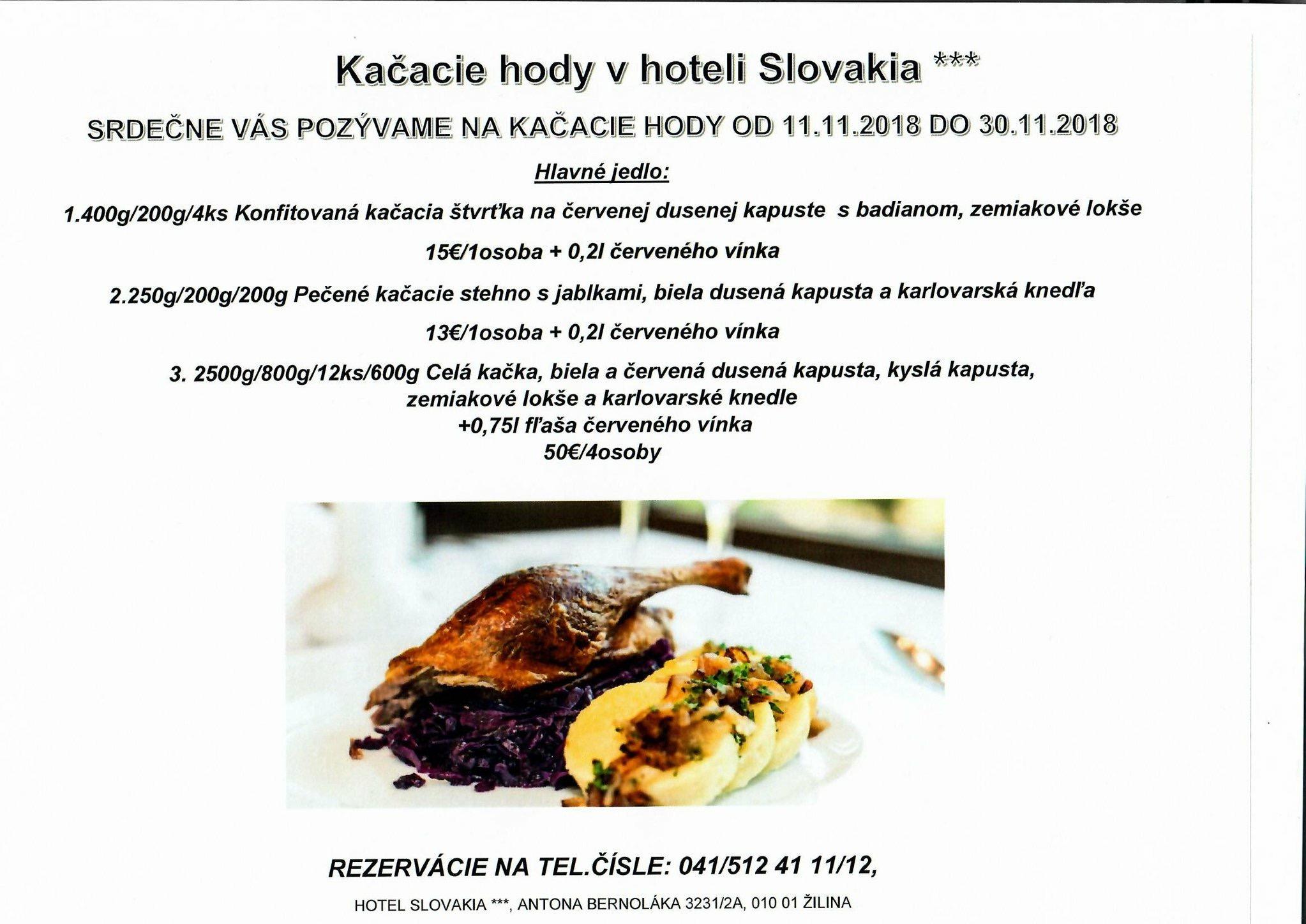 Kačacie hody v Hoteli Slovakia